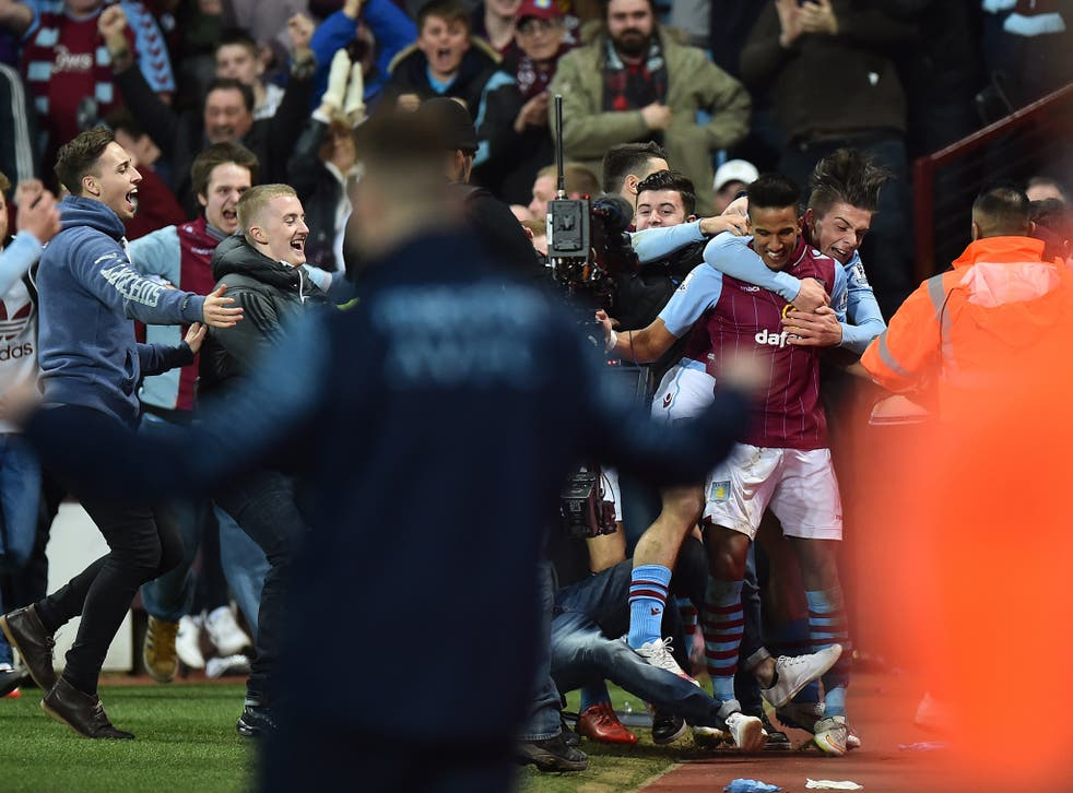A view of the scenes as fans entered the pitch during Aston Villa's FA Cup tie with West Brom