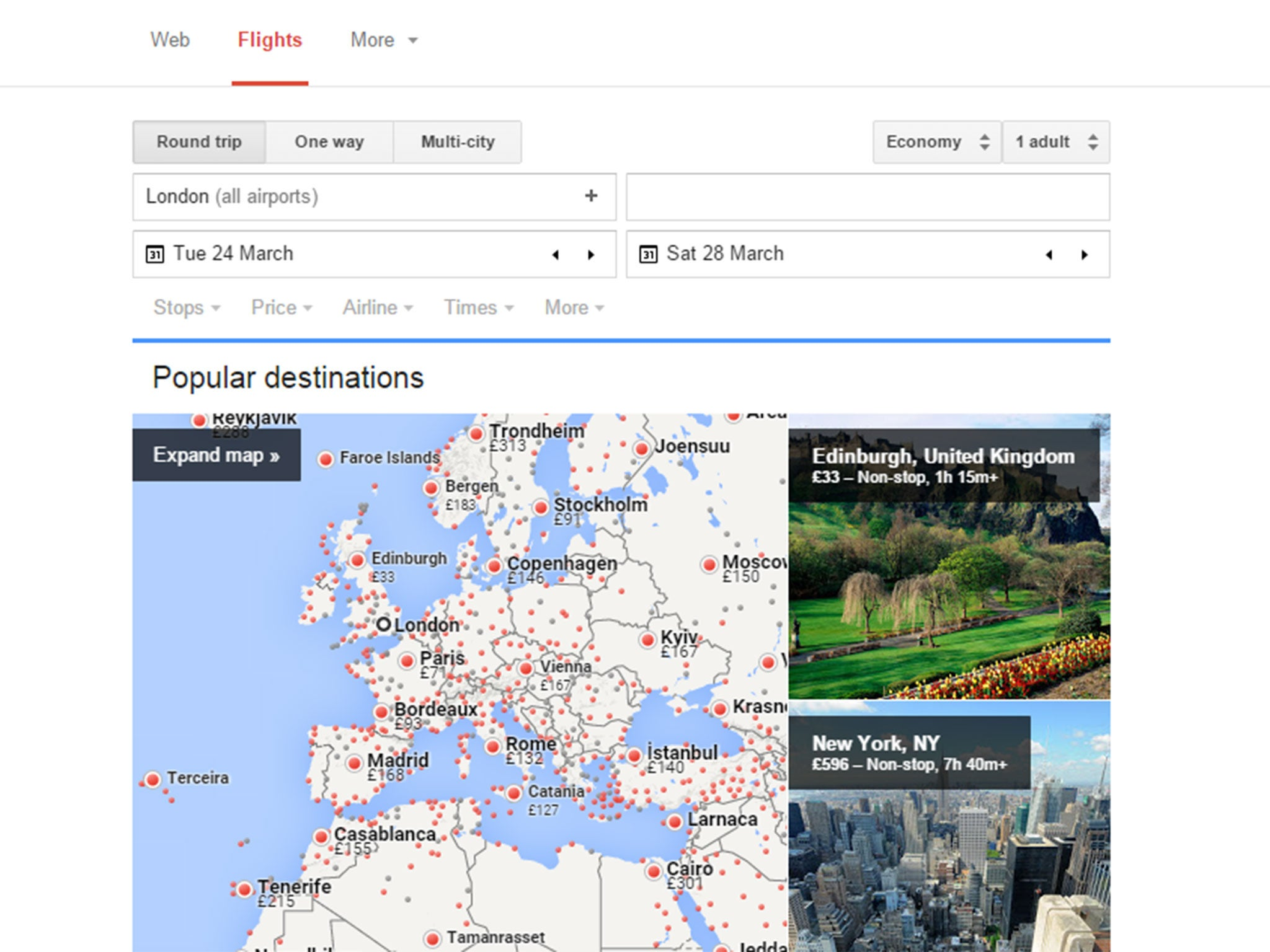 google flights search giant 39 s new booking tool offers. Black Bedroom Furniture Sets. Home Design Ideas