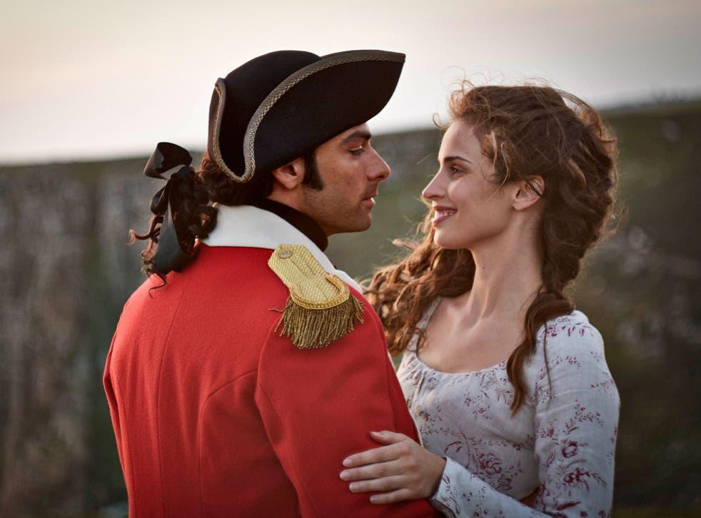 Aidan Turner as Poldark and Heida Reed as Elizabeth in the BBC drama Poldark