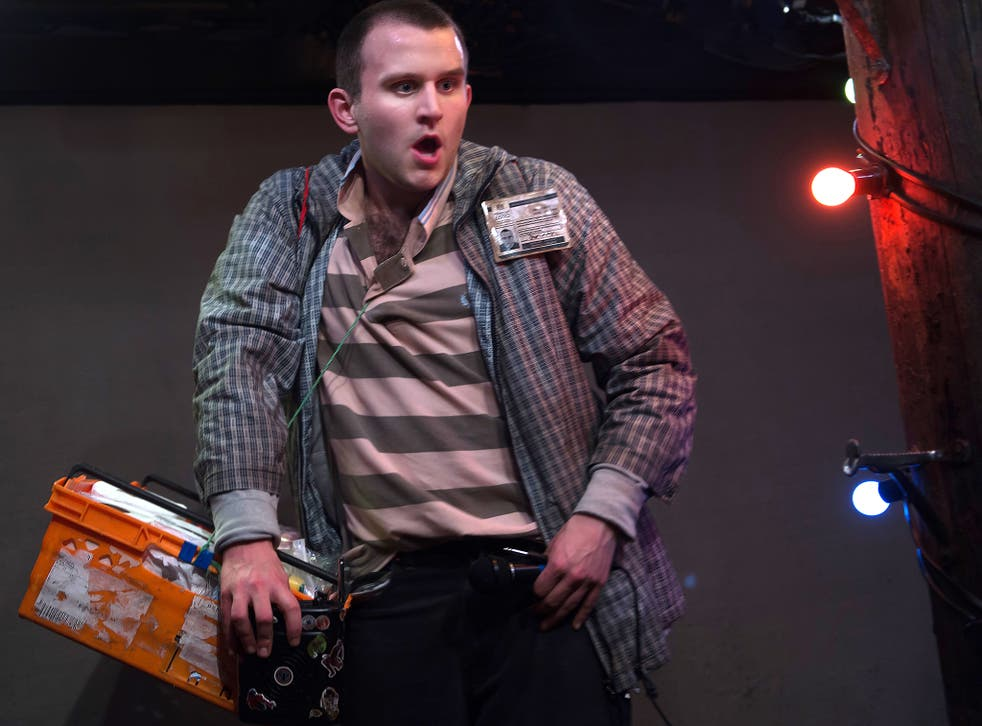 Harry Melling in his solo show, peddling