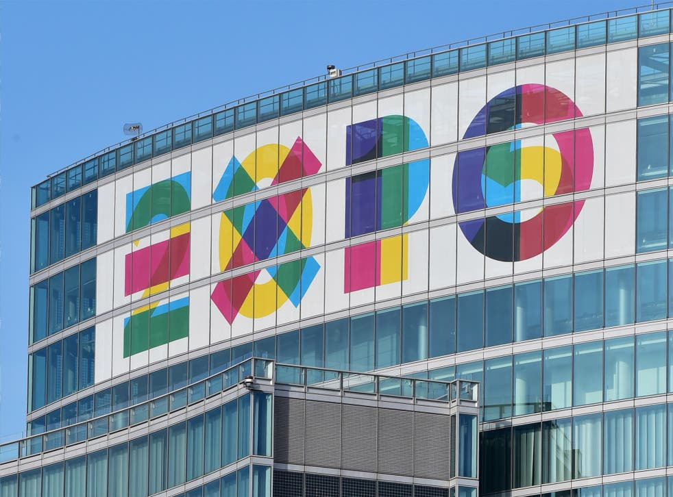The logo of Expo 2015 on top of the 'Palazzo Lombardia' (Lombardy Building) in Milan
