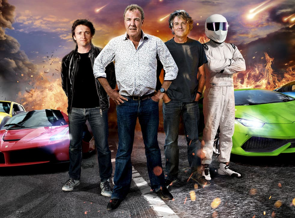 Jeremy Clarkson with his Top Gear mates, Richard Hammond, James May and The Stig
