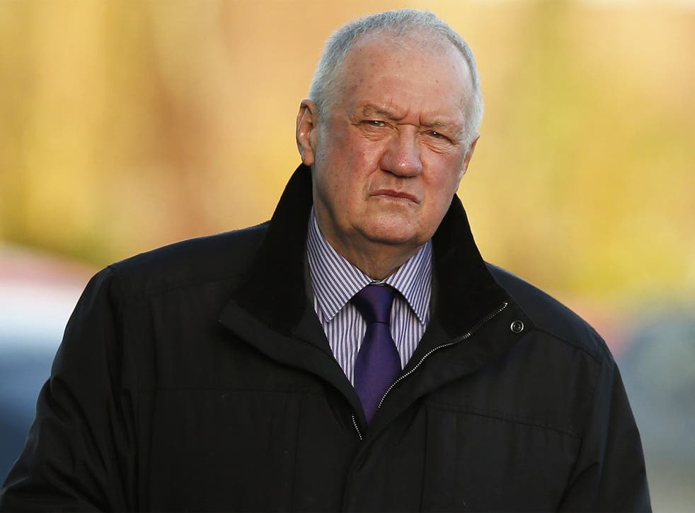 David Duckenfield, former Chief Super-intendent of South Yorkshire Police and the Hillsborough match commander, arrives to give evidence in Warrington on Tuesday