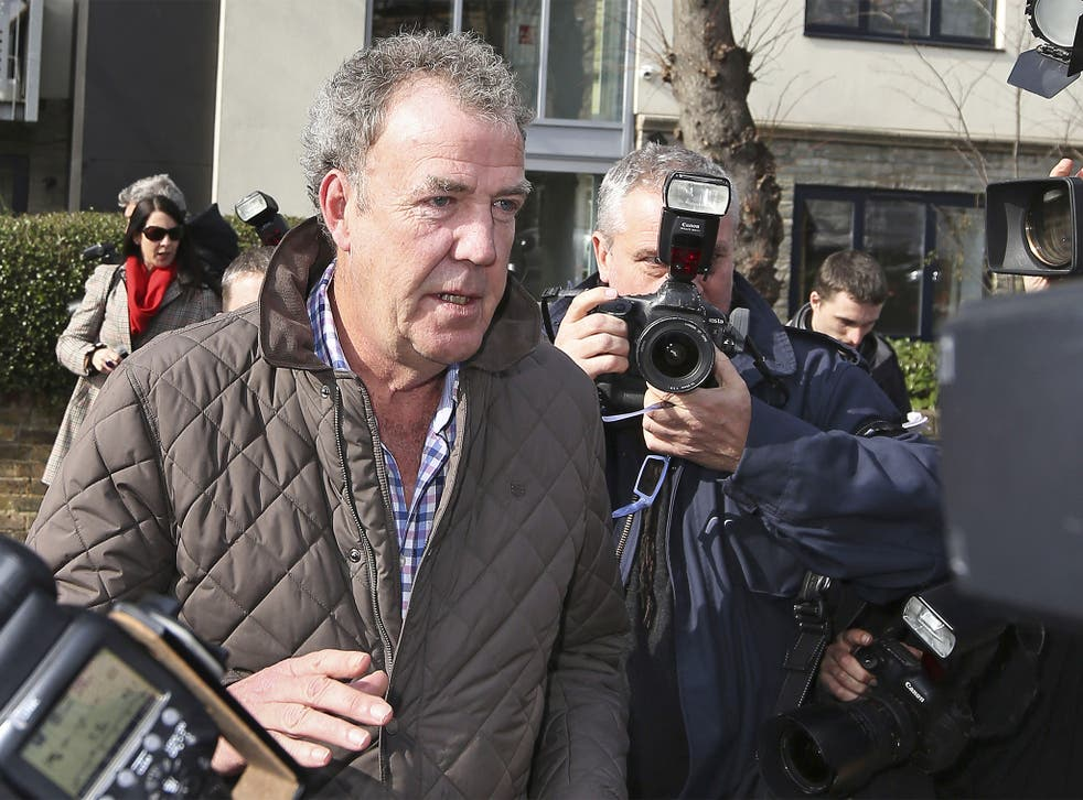 Jeremy Clarkson leaves his home in London, as he laughed off his latest controversy telling reporters he was 'just off to the job centre'