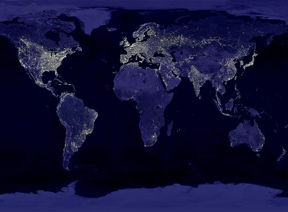 Earth's city lights from, seen from space, highlight the impact humans have on the planet