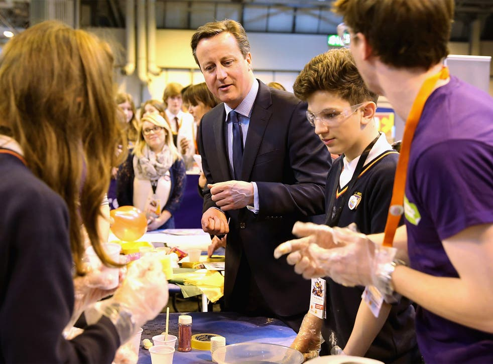 David Cameron visited the The Big Bang UK Young Scientists and Engineers Fair at the NEC in Birmingham on Wednesday