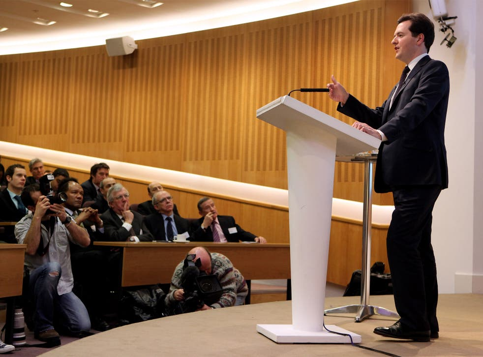 Hostage to fortune? George Osborne gives the Mais lecture at the Cass Business School, February 2010