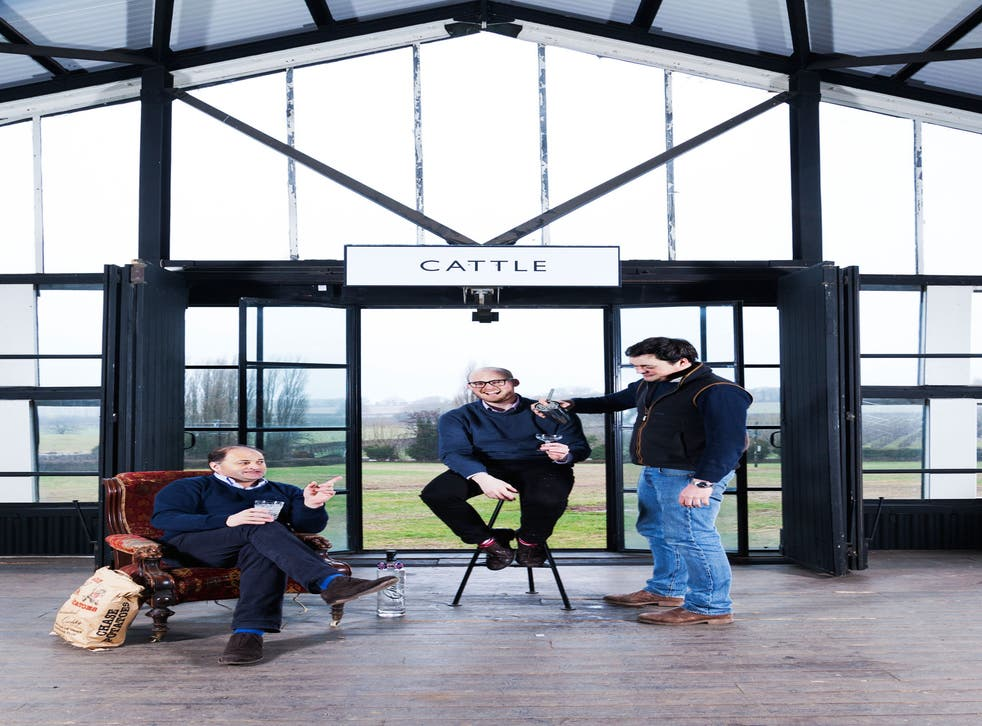 Toasting their success: William, James and Harry Chase at the distillery