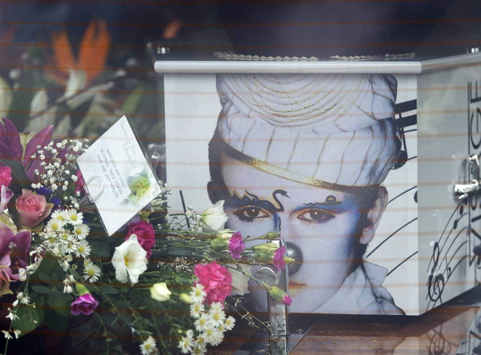 The coffin of Visage star Steve Strange at All Saints Church on 12 March, 2015, in Porthcawl, Wales