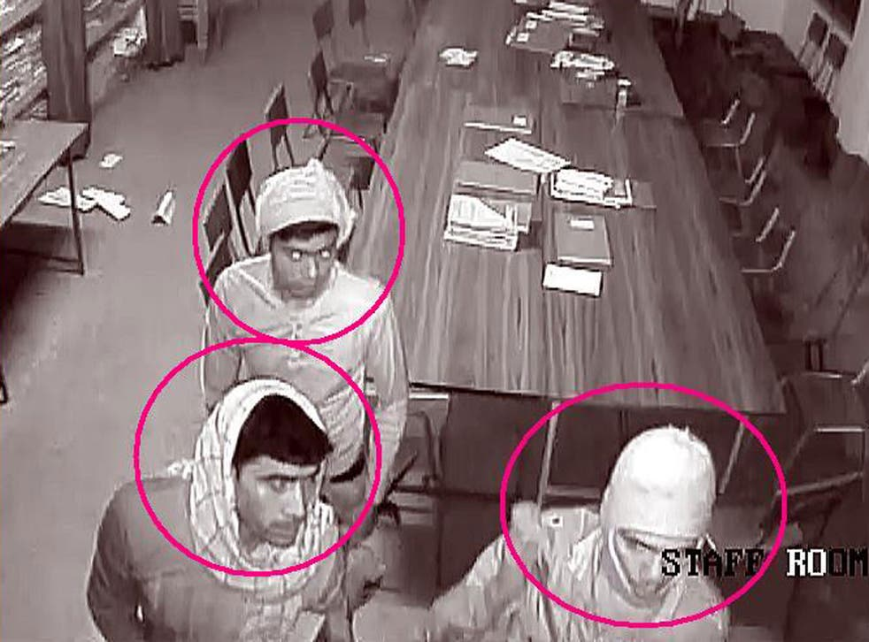 This closed circuit television image released by West Bengal Police shows three suspects in the rape of an elderly nun at the convent