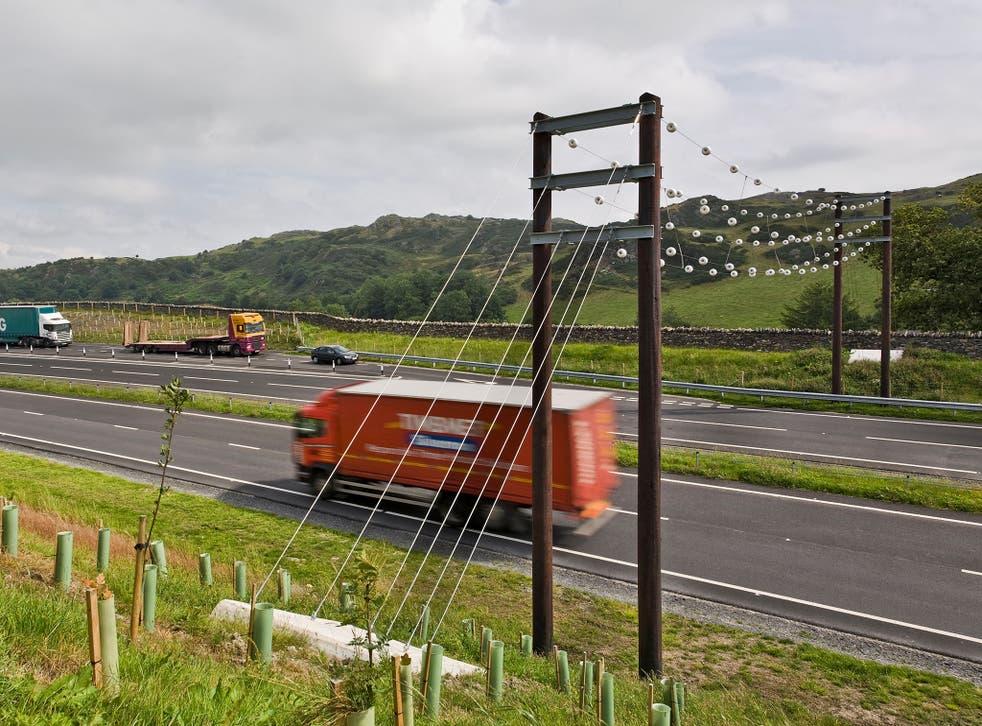 Bat bridge over the A590 dual carriageway in Cumbria