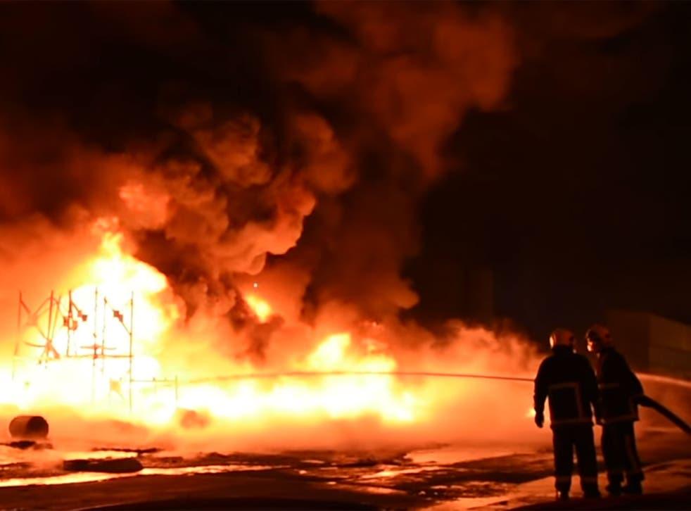 Firefighters tackling the blaze last night