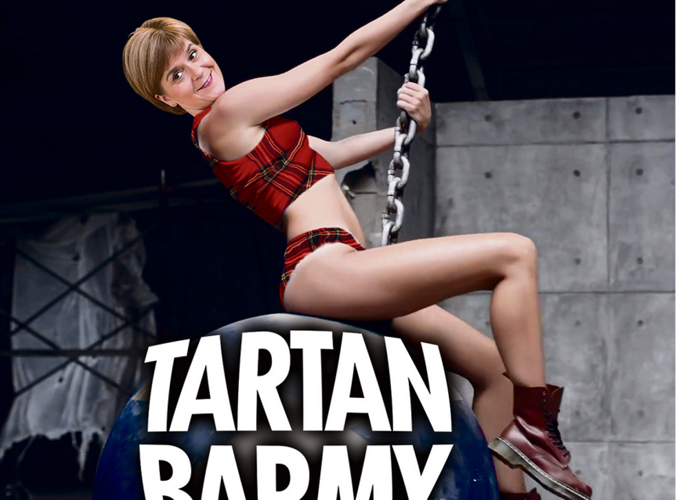Nicola Sturgeon's face was cropped onto a picture of Miley Cyrus riding a wrecking ball by The Sun last week (The Sun)