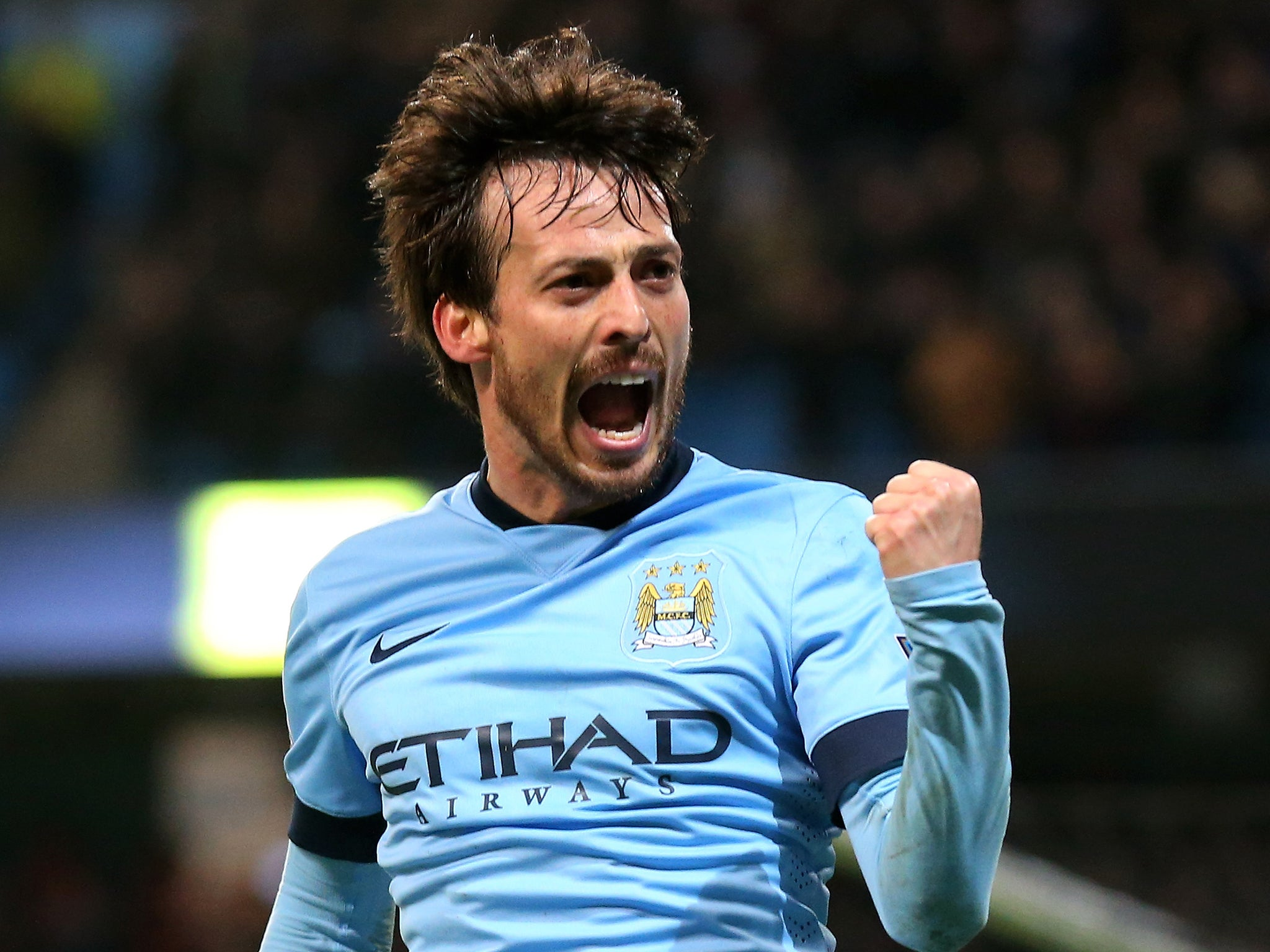 Barcelona Vs Manchester City David Silva Backs To