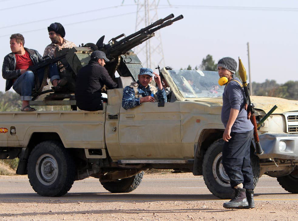 Fighters from Misrata preparing to fight Islamic State fighters near Sirte