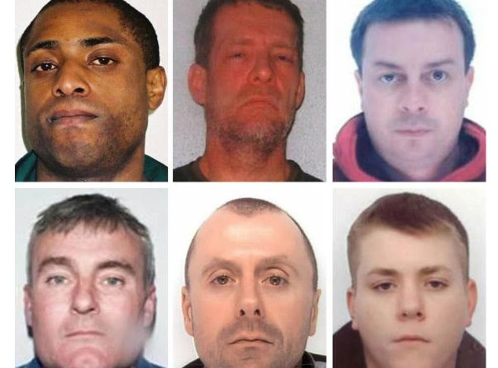 The National Crime Agency has revealed ten of Britain's most wanted fugitives who are believed to be on the run in Spain. Left to right: Paul Buchanan, Carlo Dawson, Anthony Dennis, Paul Monk, David McDermott, Michael Roden.