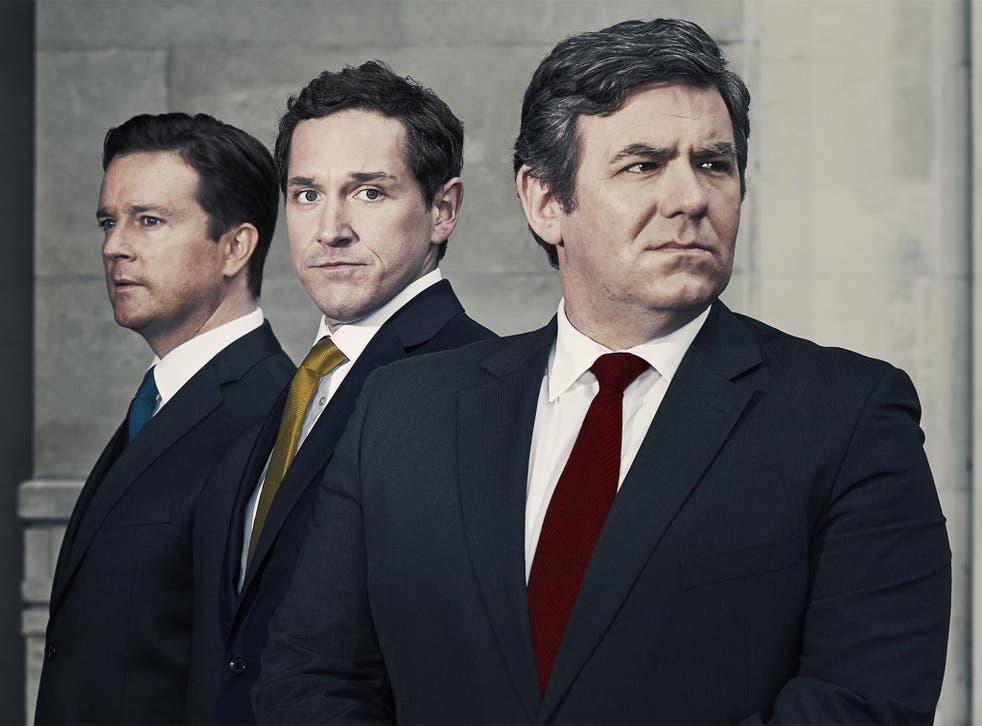 Left to right: David Cameron (Mark Dexter), Nick Clegg (Bertie Carvel) and Gordon Brown (Ian Grieve)