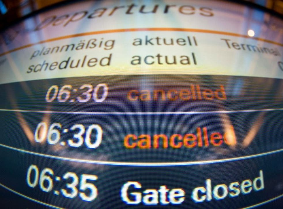 An information panel showing early morning departures and cancellations at the airport in Hamburg, Germany, 18 March 2015. German airline Lufthansa planned to cancel about 750 flights after its pilots announced their 12th strike in a year as part of a lon