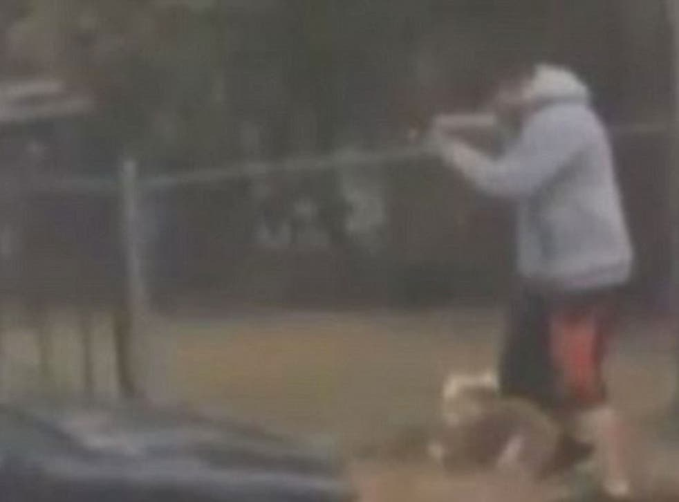 Baker was seen kicking his dog in one of the videos released