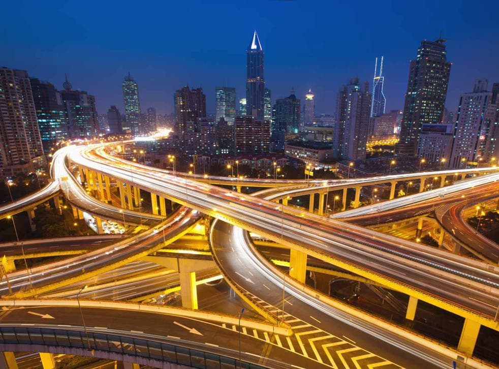 Light fantastic: night view over Shanghai's overpass