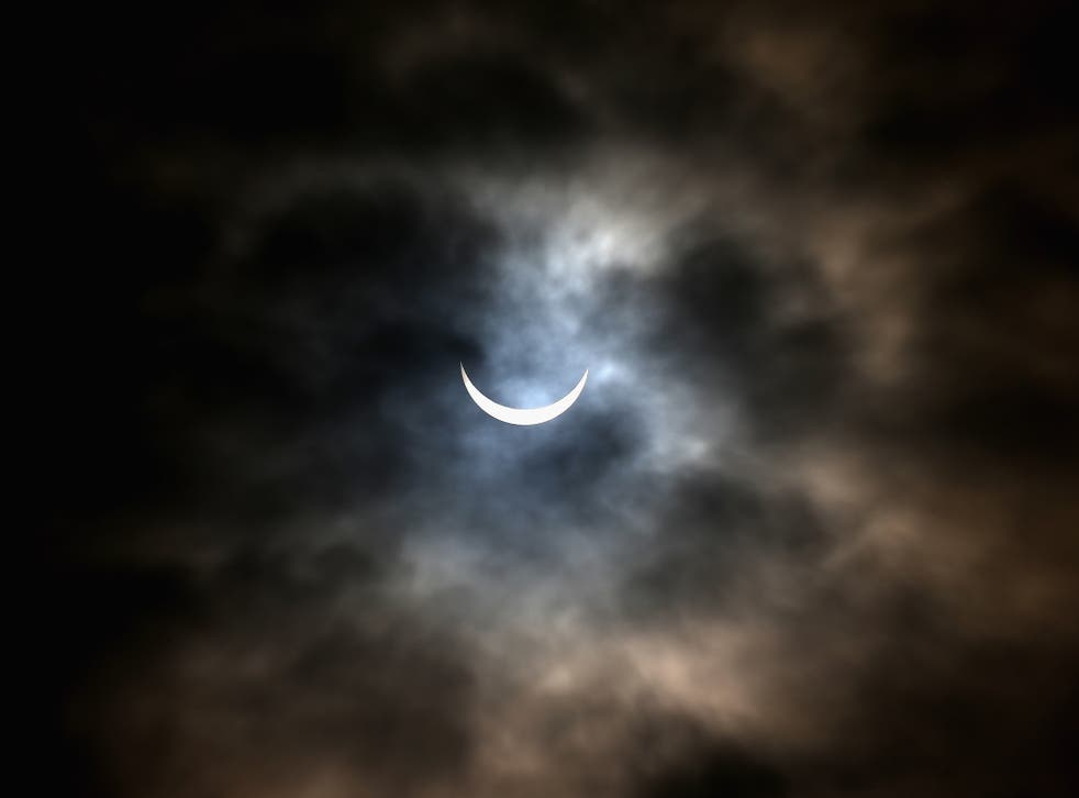A rare partial solar eclipse is seen over Northamptonshire on March 20, 2015 in Northampton, England