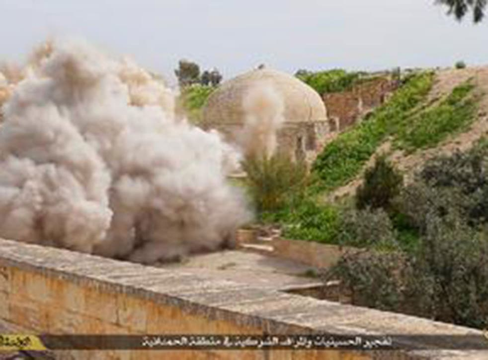 Isis accounts shared images of the monastery being blown up