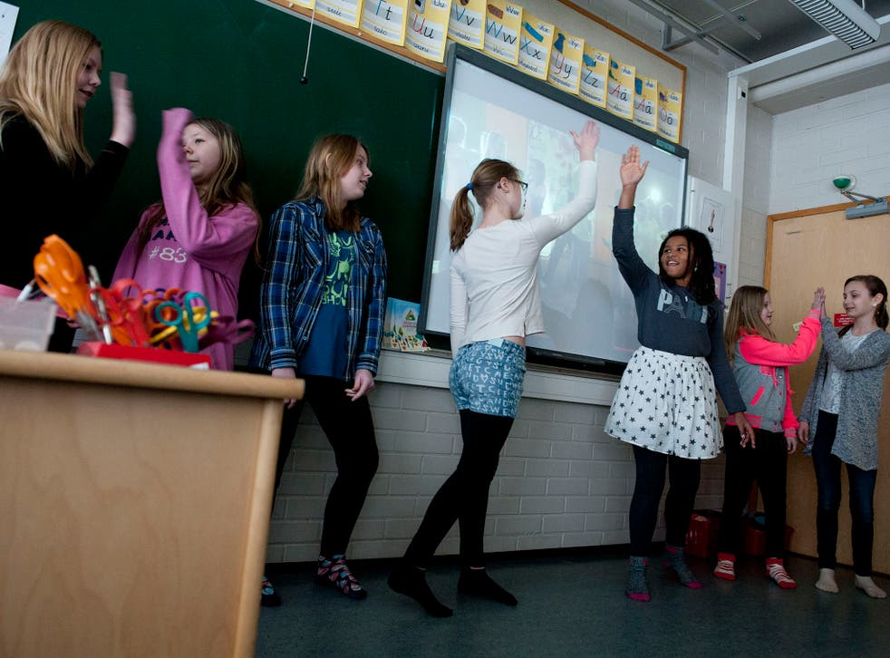 Pupils at Siltamaki primary school perform a rap as part of their cross-subject learning