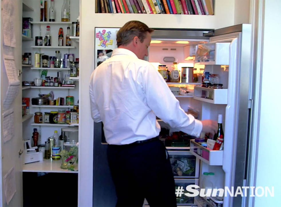 David Cameron fixes himself a quick bite for lunch in his spotless, bijou kitchen in Downing Street