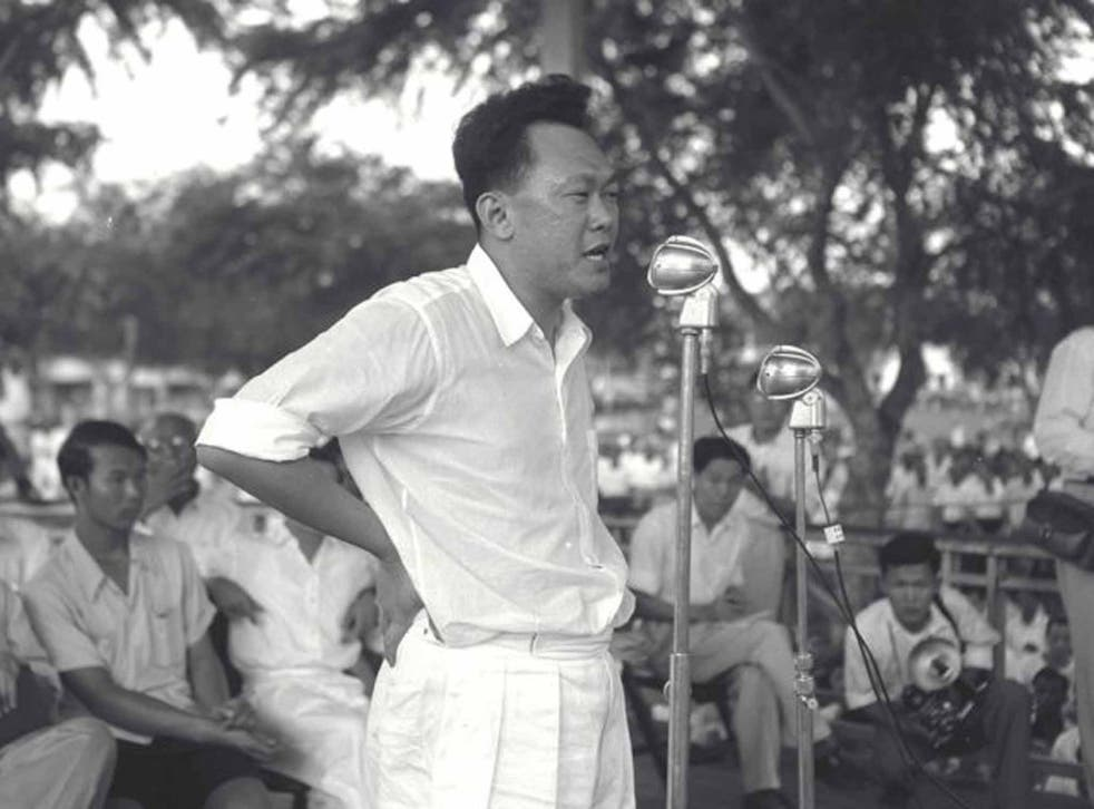 Lee campaigning in 1955; he began as a Marxist, but later filled his prisons with them