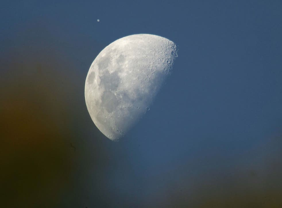 Jupiter, visible from Earth with the naked eye next to our moon