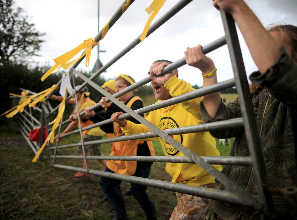 Activists protest against fracking in Lancashire, where Cuadrilla wants to launch exploration projects at two sites