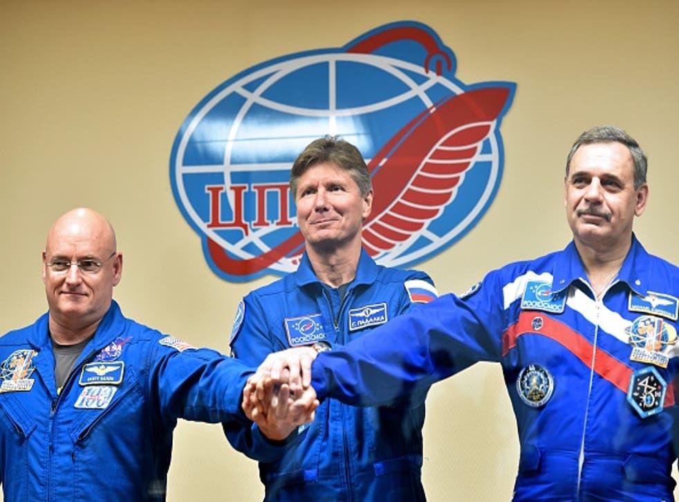 US astronaut Scott Kelly and Russian cosmonauts Gennady Padalka and Mikhail Kornienko (Kirill Kudryavtsev/AFP/Getty)