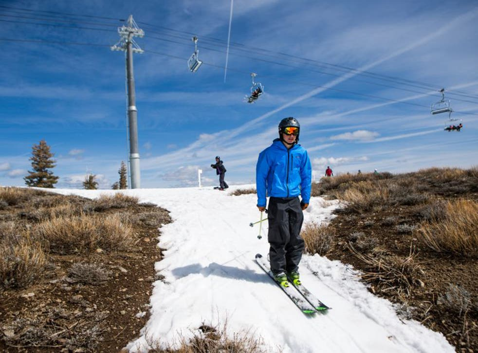 Meagre snowfall has left slopes in Olympic Valley, Tahoe, almost bare, weeks before the traditional spring melt