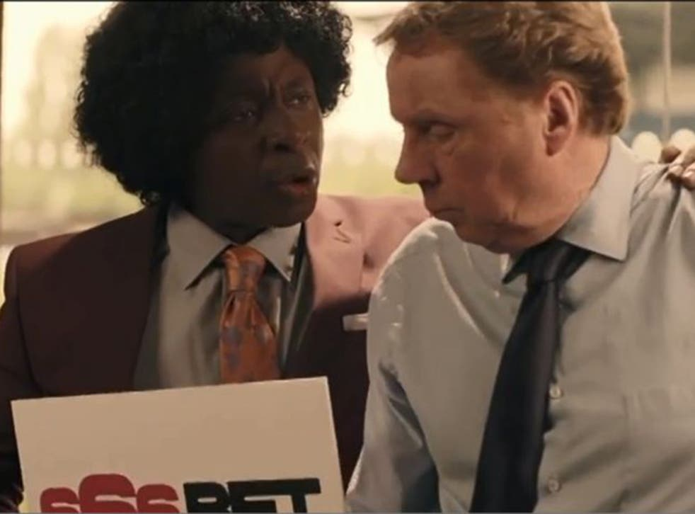 The television advertisement for 666Bet, featuring Vas Blackwood, left, and former football manager Harry Redknapp