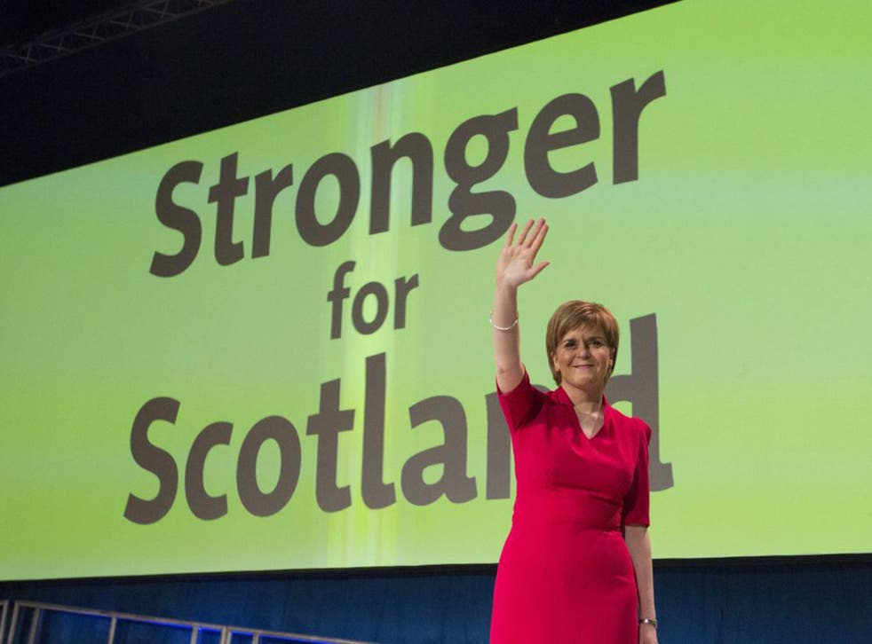 SNP leader Nicola Sturgeon after delivering her keynote speech at the party's spring conference in Glasgow on Sunday