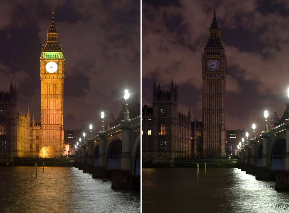 Parliament's Elizabeth Tower was scarcely visible for an hour as part of the global event