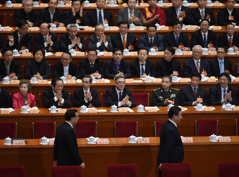 President Xi Jinping, right, and Premier Li Keqiang, left, at the Great Hall of the People earlier this month. President Xi's top-down anti-corruption campaign has proven popular with the public