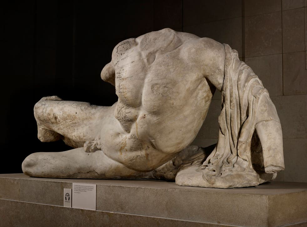 A statue of the River God Ilissos by Phidias, part of the 'Elgin Marbles' and on display at the British Museum