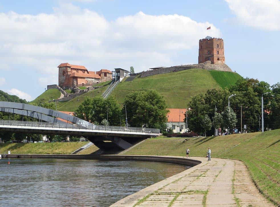 Upper Castle at Neris River, Mindaugas Bridge, Vilnius
