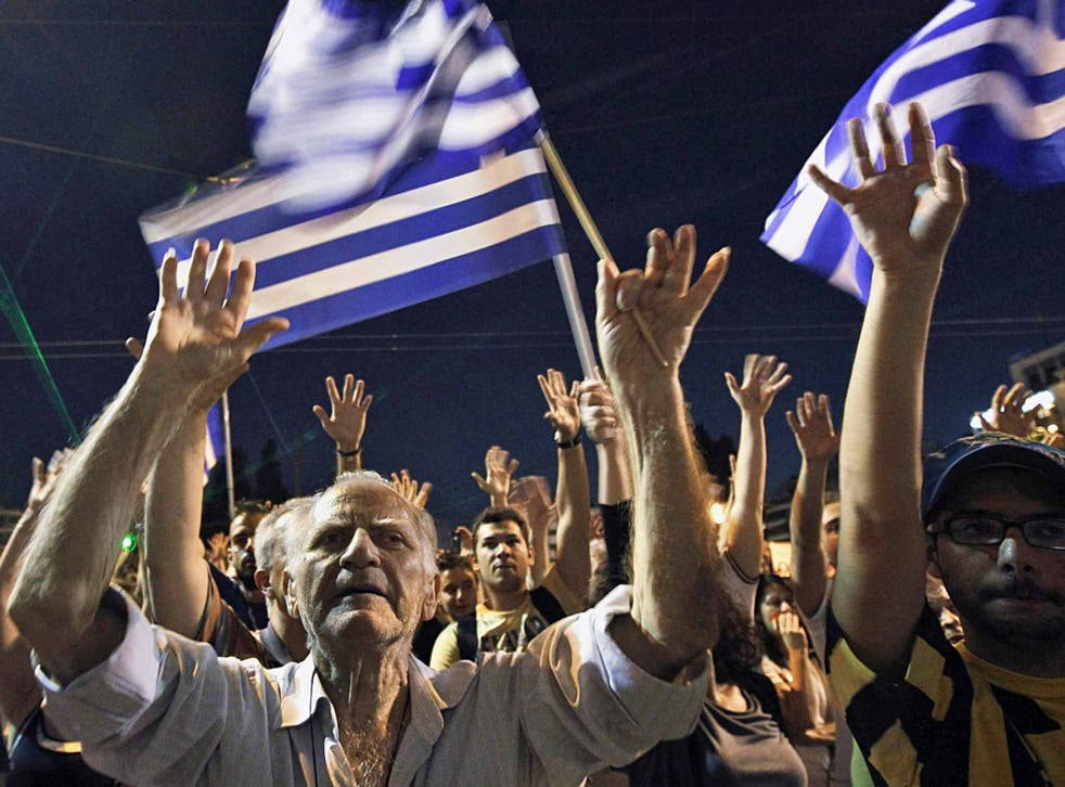 Protest rally in June 2011 in front of the parliament in Athens expresses opposition to a new austerity package