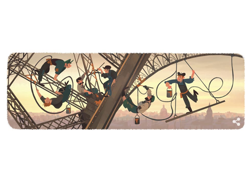 Google celebrates the 126th anniversary of the Eiffel Tower opening its doors to the public for the first time