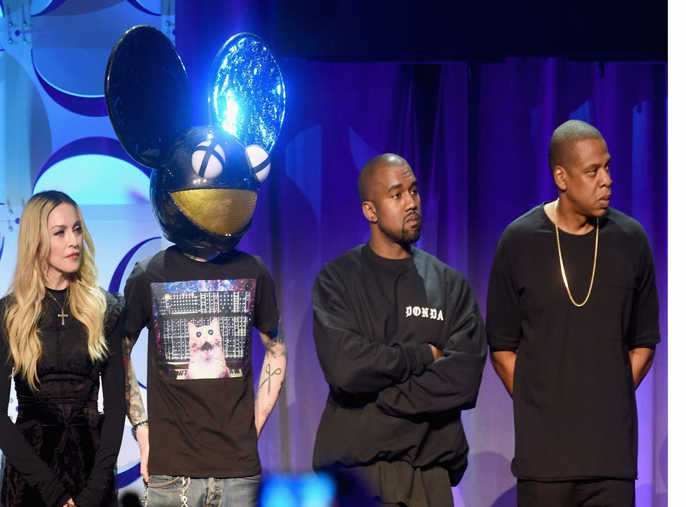 Madonna, deadmau5, Kanye West and Jay Z at the launch of Tidal
