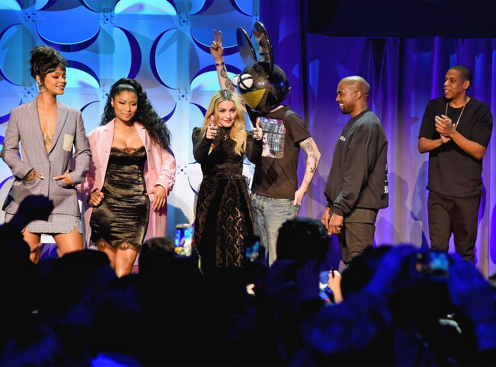 Rihanna, Nicki Minaj, Madonna, Deadmau5, Kanye West and Jay-Z at the Tidal launch event in New York