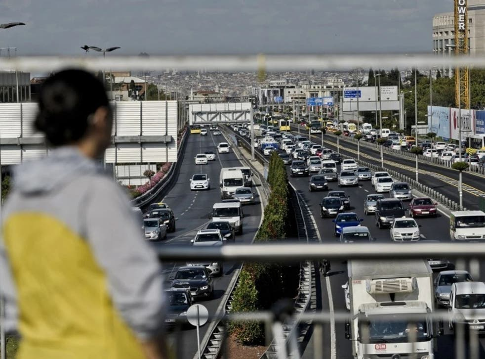 Traffic jams form on a highway in September 2014 during the first day of school in Istanbul. (Ozan Kose/AFP/Getty Images)