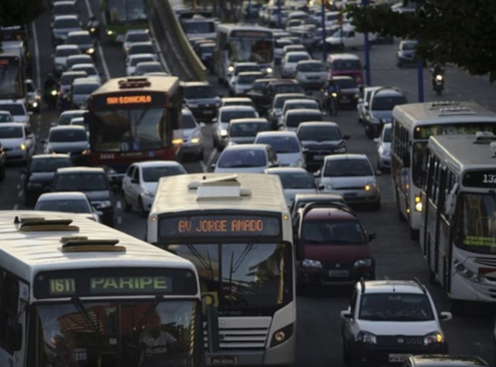 A view of a traffic jam during a weekday rush hour in March 2014 along Tancredo Neves Avenue, one of the main arteries of Salvador, Brazil. (Lunae Parracho/Reuters)