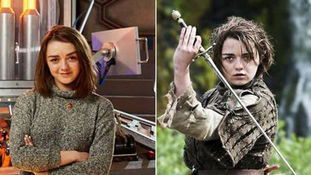 Maisie Williams – (left: She'll make a special appearance in Doctor Who, right: Game of Thrones – Arya)
