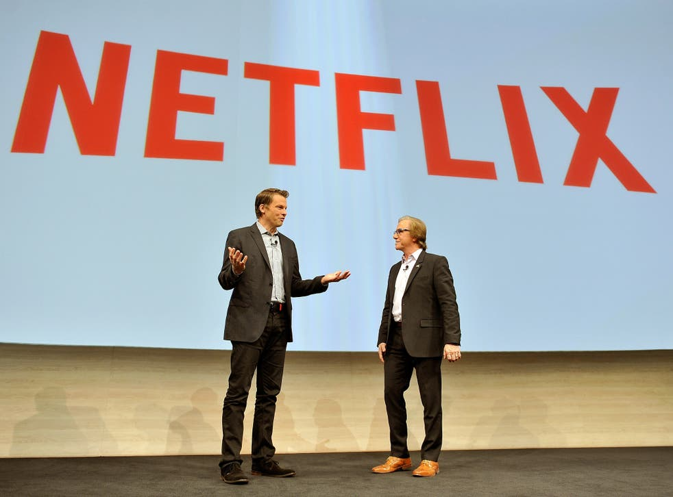Netflix Chief Streaming and Partnerships Officer Greg Peters and Sony Electronics President and COO Mike Fasulo at a press event at the Las Vegas Convention Center for the 2015 International CES, where the company announced new plans for getting Netflix o