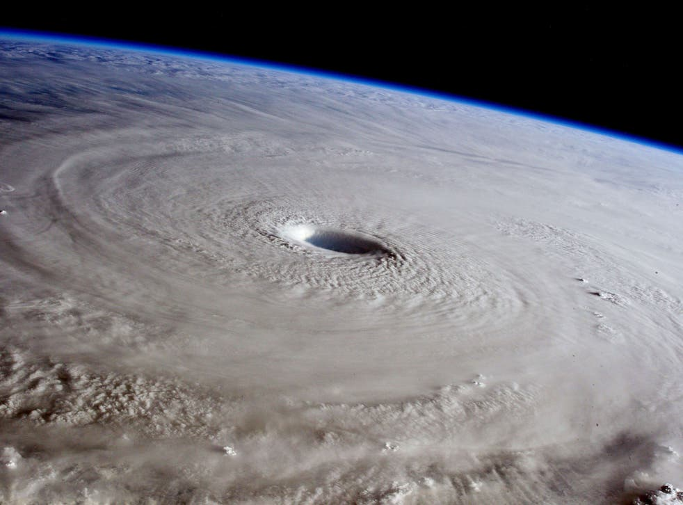 Handout picture received on April 2, 2015 from ESA/NASA shows the eye of Super Typhoon Maysak as photographed from the International Space Station (ISS) in space on March 31, 2015