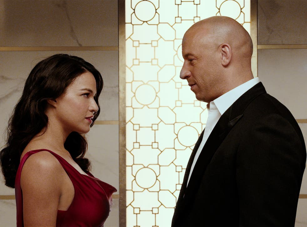 Michelle Rodriguez and Vin Diesel in 'Fast and Furious 7'
