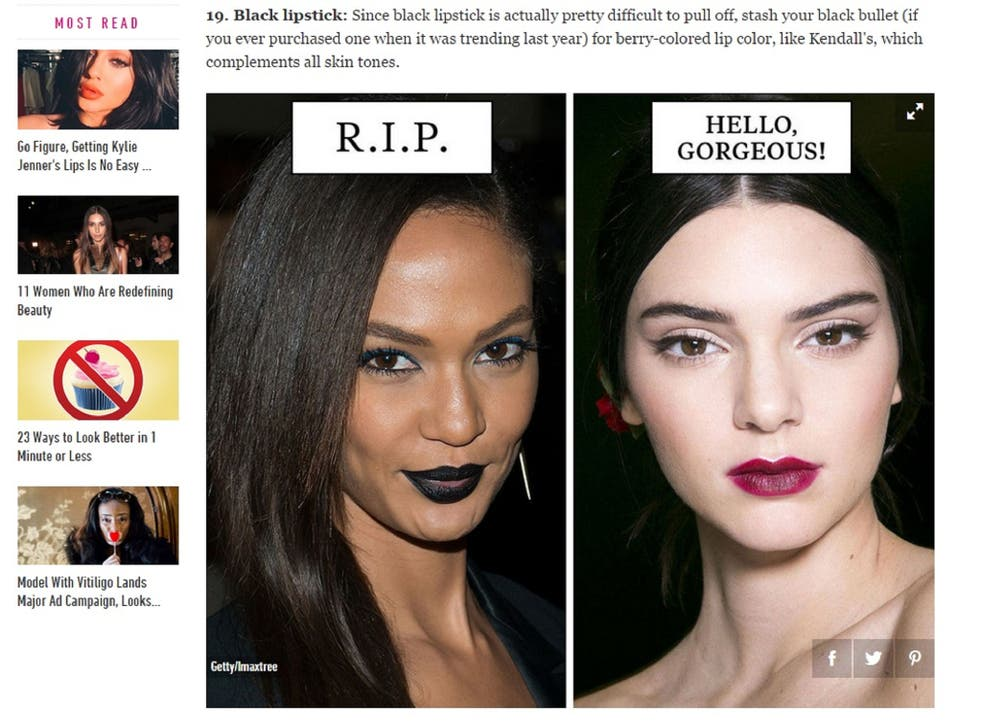 Cosmopolitan used the only black models in their feature to illustrate 'unfashionable' beauty trends